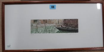 A group of three colour etchings of Venice scenes, indistinctly signed,