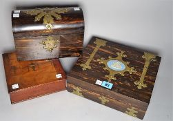 A late Victorian coromandel and brass bound rectangular jewellery box, 26cm wide x 8cm long,