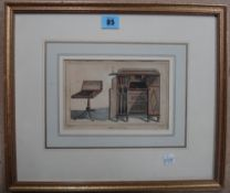 English School (19th century), Furniture designs, two engravings with hand colouring,