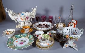 Ceramics, including; Coalport cups and saucers, a Dresden bowl, a pair of Staffordshire figures,