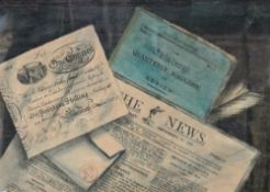 J** Y** (19th century), Still life of bank note, newspaper and magazine, watercolour, pen and ink,