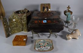 A quantity of mostly 20th century Asian/ Indian collectables including wooden boxes,