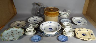 Ceramics, including; a Wedgewood part dinner and tea service with blue floral decoration,