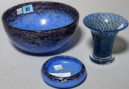 Monart; a 20th century blue glass bowl, 20cm dia, another smaller dish,