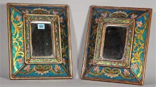 A pair of Venetian style reverse painted rectangular wall mirrors, 35cm high x 30cm high.