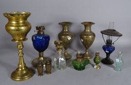 Collectables, including; five coloured glass oil lamps of various sizes, the largest 25cm,