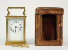 A brass cased carriage clock, 20th century, with visible platform escapement,
