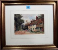 A. W. Head (early 20th century), Figures by a cottage, watercolour, signed, 16cm x 24cm.