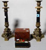 Collectables, including; a pair of Regency candlesticks, a papier mâché box,