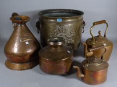 A quantity of mostly early 20th century copper and brass ware including urns, kettles,