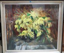 Charles Poupaert (1874-1935), Still life of Mimosa, pastel, signed, 88cm x 99cm.