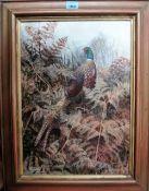 Ken Turner (b.1926), Pheasant, oil on board, signed, 41cm x 29cm.