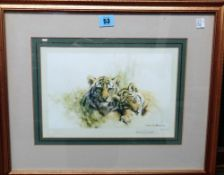 David Shepherd (1931-2017), Tigers; Leopards; Elephants, three colour prints, all signed,
