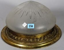 An early 20th century brass and frosted glass ceiling light, 30cm wide.