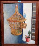 Greenham (20th century), Still life with cacti, bird cage and budgerigar.