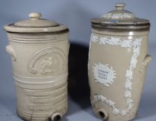 A near pair of Doulton stoneware water filters, 45cm high, (2).