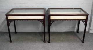 A pair of 19th century mahogany rectangular bijouterie tables,