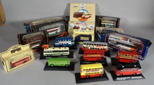 Toys; mainly modern Corgi, matchbox busses and lorries, (qty).