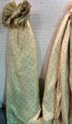Curtains; two pairs of lined beige and polka dot curtains, the larger 169cm wide x 216cm drop,
