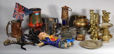Collectables, including; brass and pewter candlesticks, miniature irons,