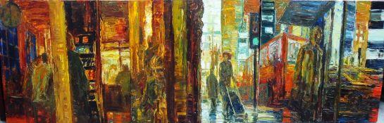 Paul Butler (b.1947), 'Day': Triptych, oil on board, each 92cm x 92cm.