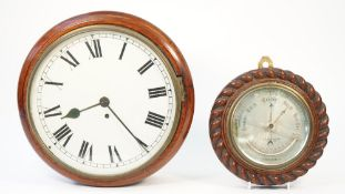 A late 19th century mahogany cased dial clock with 12inch painted tin dial (pendulum) and an oak