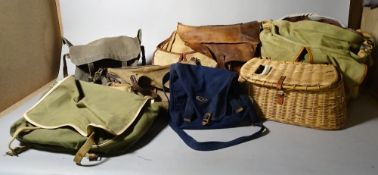 Fishing equipment; vintage tackle bags and creels, one creel bag combo some bags with contents,