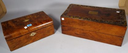 A Victorian walnut and mother of pearl inlaid writing slope, 35cm, wide x 15cm high,