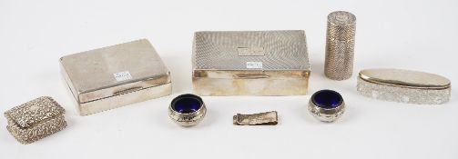 Silver and silver mounted wares, comprising; two rectangular table cigarette boxes,