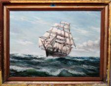 S. Dicks (20th century), A Clipper in choppy seas, oil on canvas, signed, 41cm x 56cm.