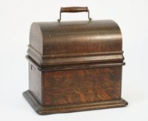 An Edison 'standard' phonograph, early 20th century, oak cased with approx. 30 cylinders.