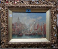 English School (19th century), A busy port scene, watercolour and gouache, 19cm x 24cm.