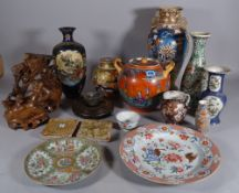Asian ceramics, including; a Japanese twin handled vase and cover, 22cm high,