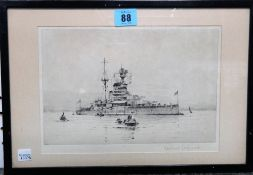 Rowland Langmaid (1897-1956), Warship, etching, signed in pencil, 16cm x 25cm.
