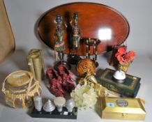 Collectables including; a pair of modern figural candlesticks, 40cm high,