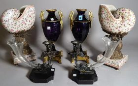A pair of Victorian style purple glass and gilt metal mounted vases with swan handles, 35cm high,