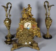 A 20th century Continental gilt metal mantel clock with eight day movement,