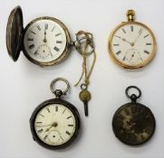 A gold cased, keyless wind, openfaced pocket watch, with an unsigned jewelled lever movement,