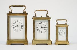 A French brass cased carriage clock, early 20th century, with push repeat,