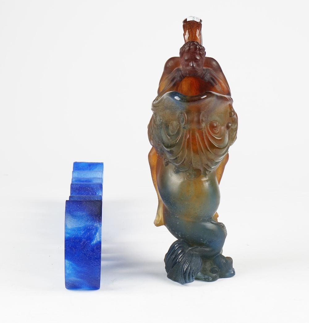Lot 1940 - A Daum blue glass 'Amour' sculpture, Ltd edition 15/175, signed,