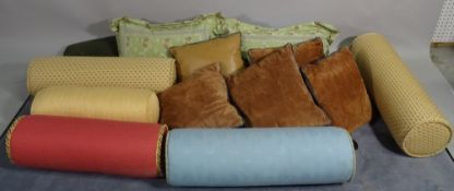 A large quantity of modern cushions including bolster styles, (qty).
