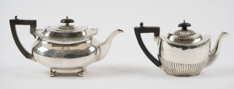 Silver, comprising; a teapot of boat shaped form,