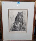 Continental School (early 20th century), Cat; Hen; Locusts; Sheep,