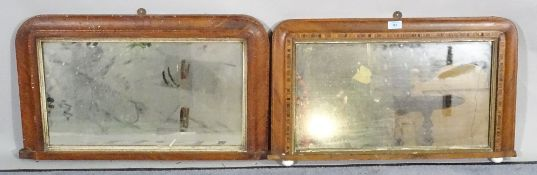 A pair of 19th century Tunbridge ware overmantel wall mirrors, 74cm wide x 46cm high.