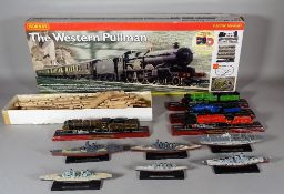 Toys; mainly modern including battleships and two part train sets.