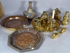 Metal ware collectables, a quantity of copper and brass including, caster pots, vases,