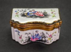 An enamel gilt metal mounted rectangular snuff box, late 18th century, of serpentine outline,