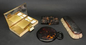 A tortoiseshell cased aide memoir, circa 1900, in the form of a book,