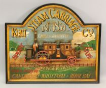 A handpainted reproduction advertising board for the Kent Steam Carriage Co, 72.5 x 81.5cm wide.