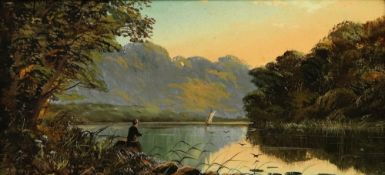 John W Morris (British, 1865-1924) A fisherman on a lake; Sheep grazing by a lake, a pair,